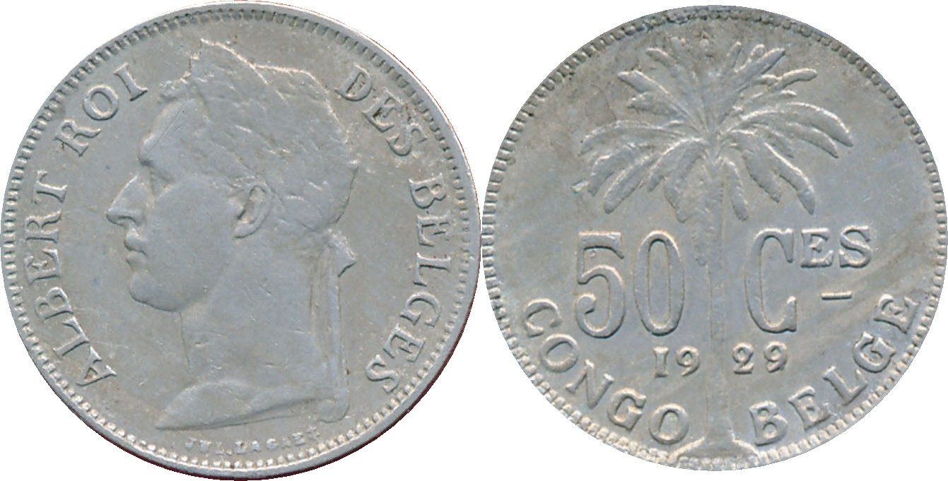 Belgian Congo: 1929 overstrike of 28, 50 Centime