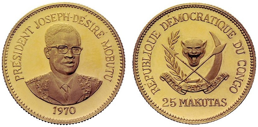 Zaire: 1970 25 Makutas, Gold Proof