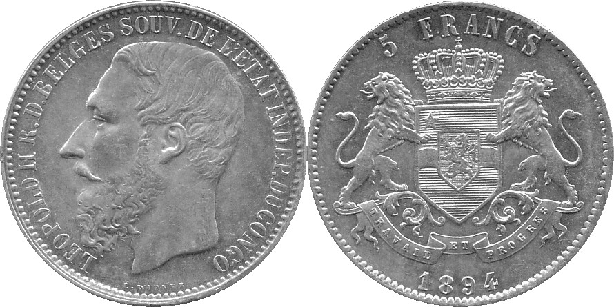 Congo Free State: 1894 5 Franc, Silver