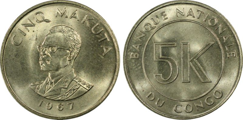 1967 Democratic Republic of Congo: 5 Makuta