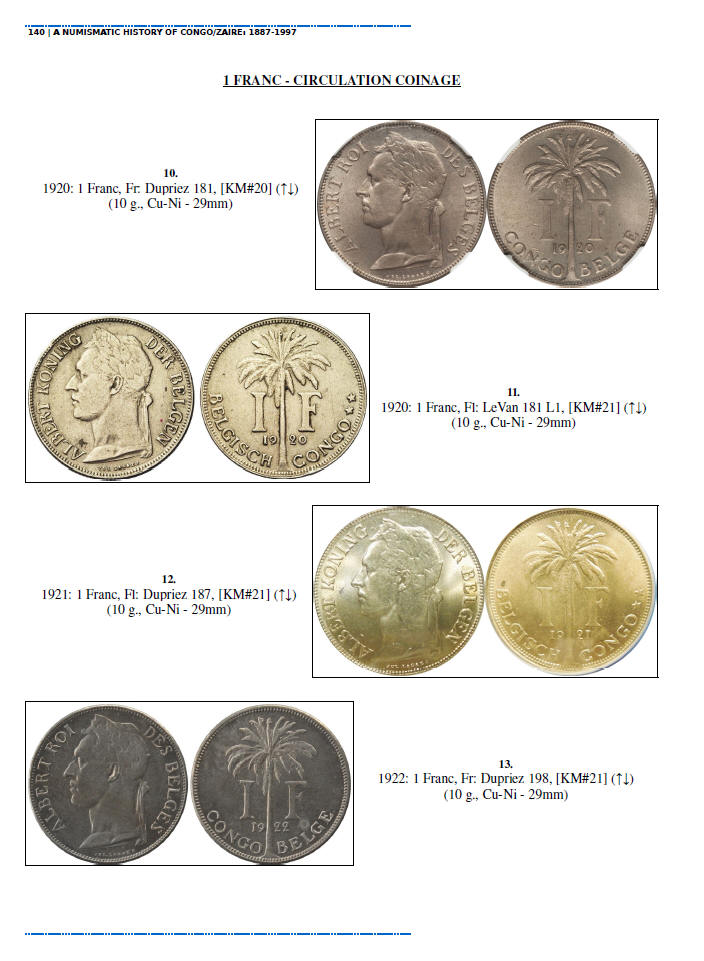NUMISMATIC HISTORY OF THE CONGO-ZAIRE: 1887-1997, Chapters 5-8, page samples