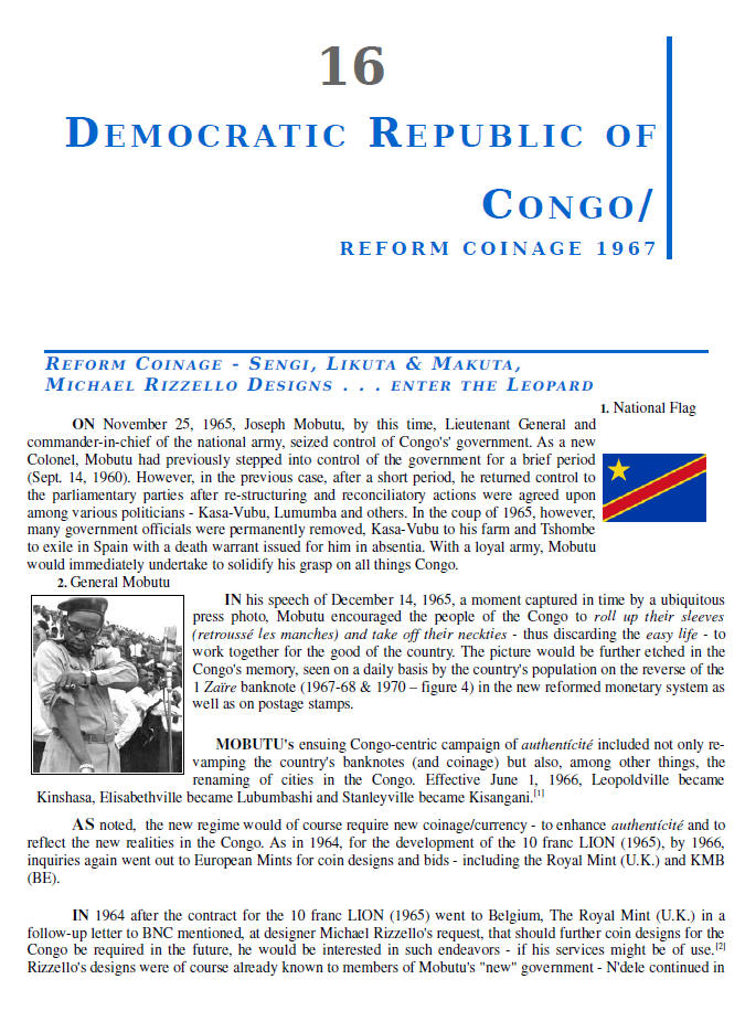 NUMISMATIC HISTORY OF THE CONGO-ZAIRE: 1887-1997, Chapters 13-16, page samples