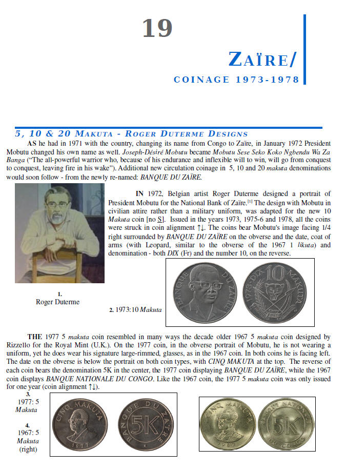 NUMISMATIC HISTORY OF THE CONGO-ZAIRE: 1887-1997, Chapters 17-20, page samples