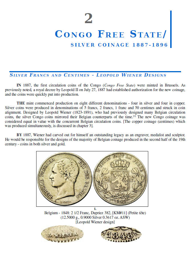 NUMISMATIC HISTORY OF THE CONGO-ZAIRE: 1887-1997, Chapters 1-4, page samples